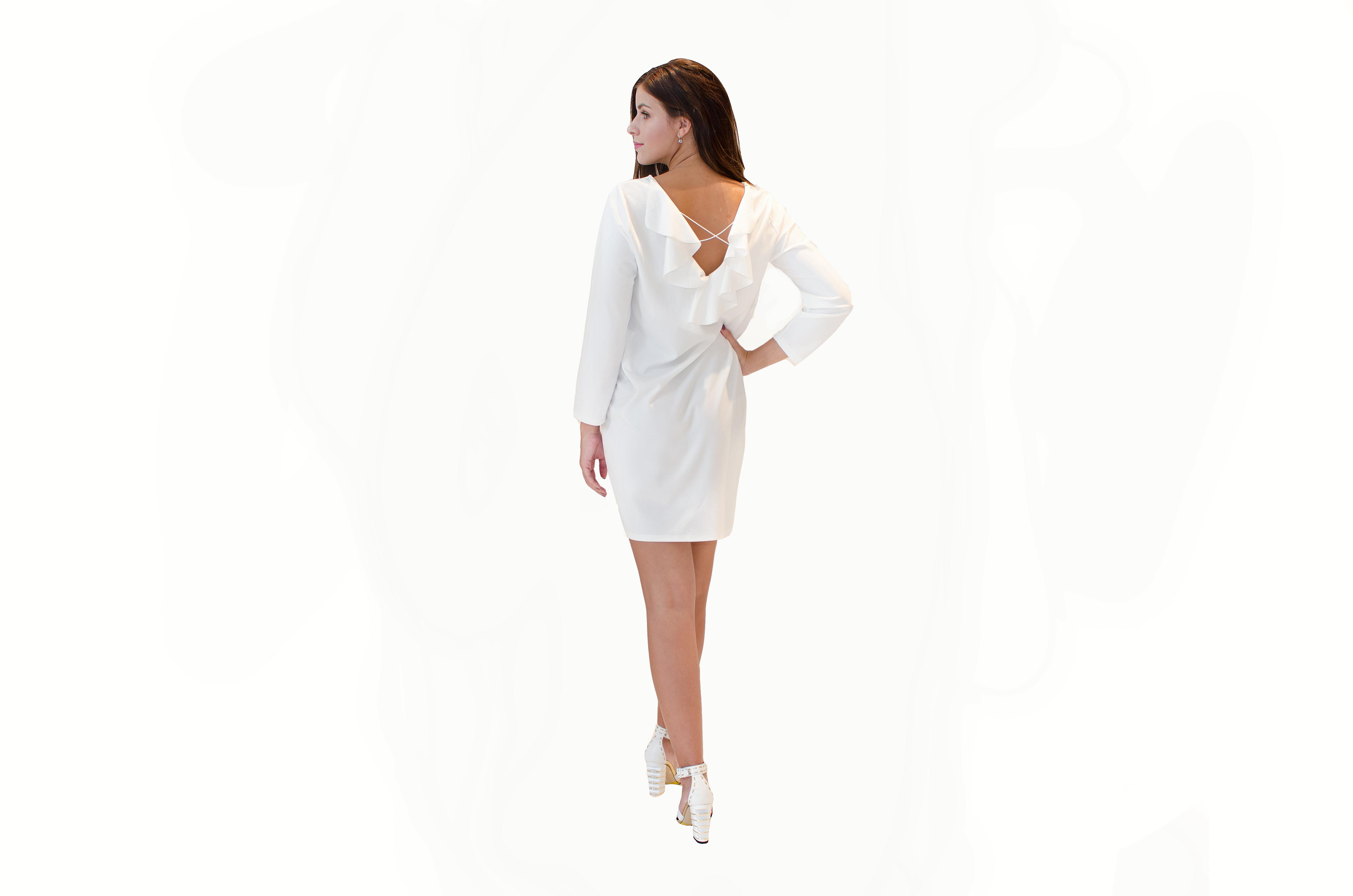 produkt_Bílé oversize šaty s volánem na zádech