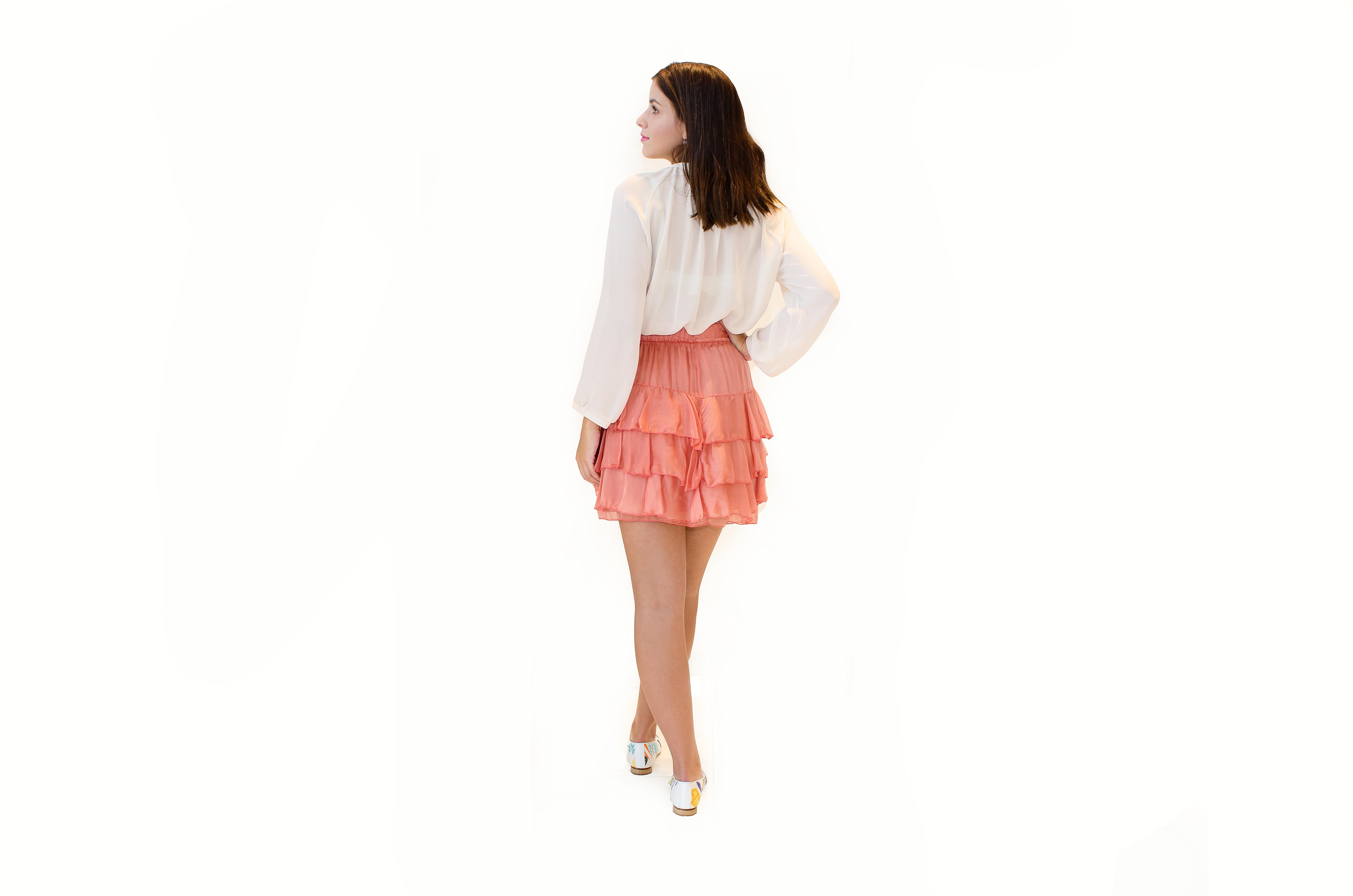 Volánková sukně z hedvábí