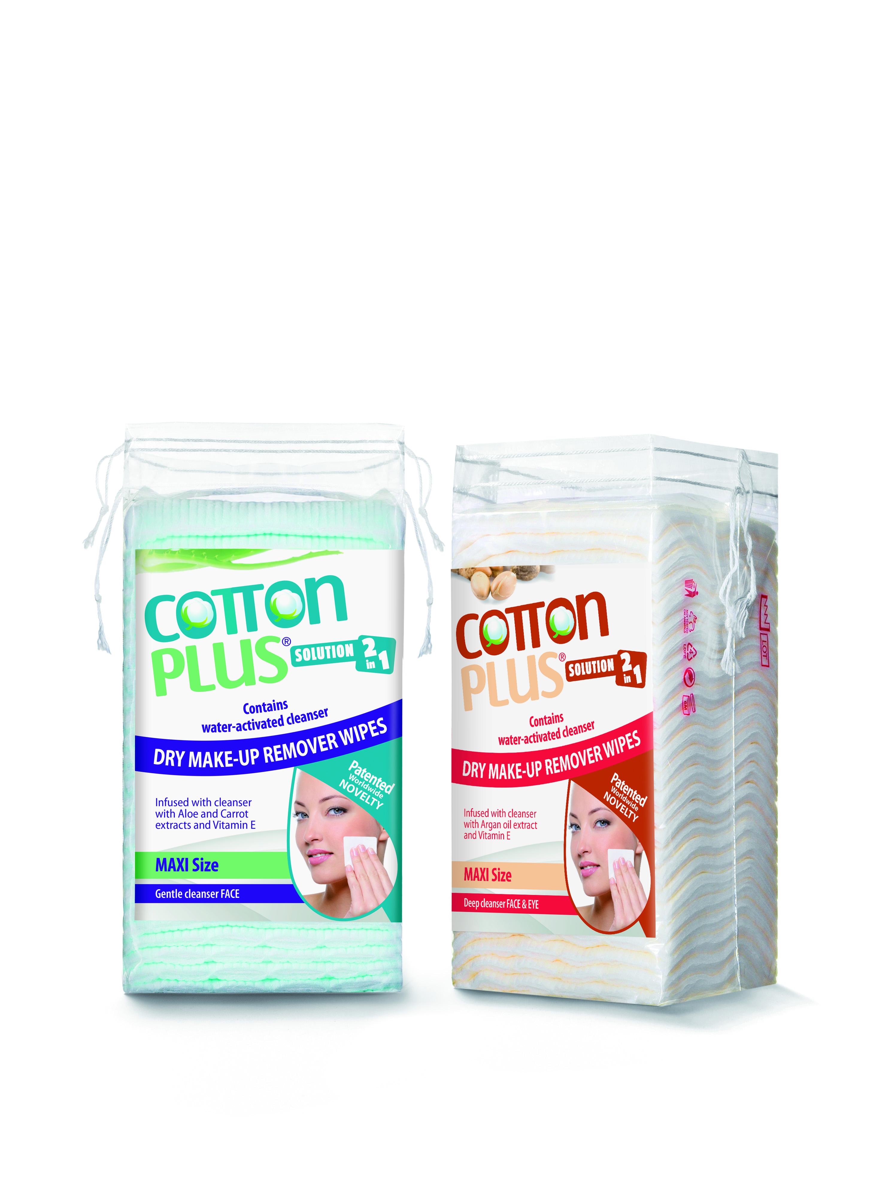 produkt_NOVINKA V ČR   Cotton plus odličovací tampóny  na obličej a oči  2v1- velké balení 50KS 8x6 cm