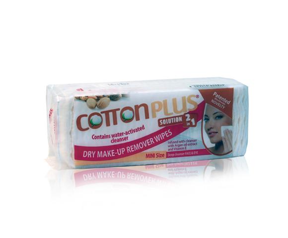 produkt_ NOVINKA V ČR Cotton plus odličovací tampóny  na obličej a oči - malé balení 60KS 5x4 cm