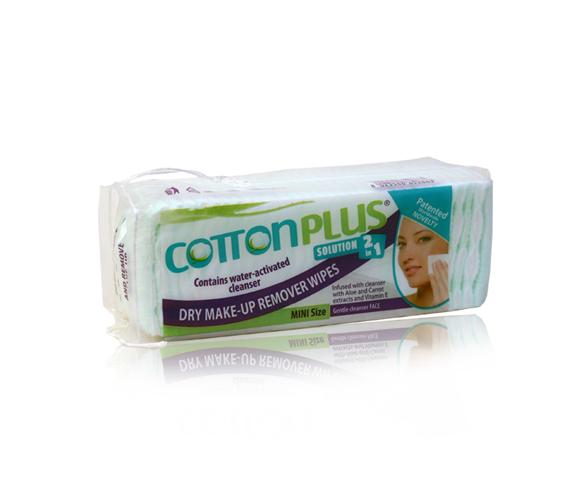 produkt_NOVINKA V ČR     Cotton plus s aloe odličovací tampóny na obličej  2v1- malé balení 60KS 5x4 cm